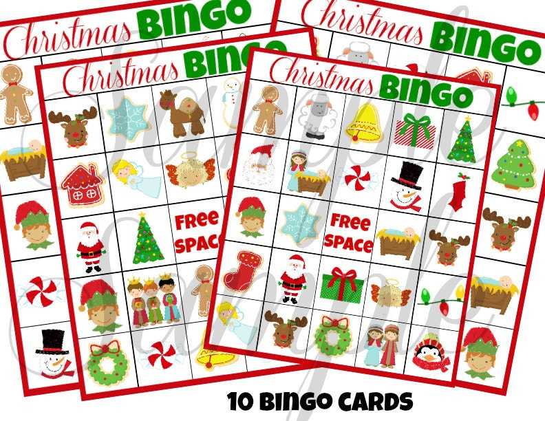 INSTANT DOWNLOAD Christmas BINGO Holiday 3 in 1 Games | Etsy