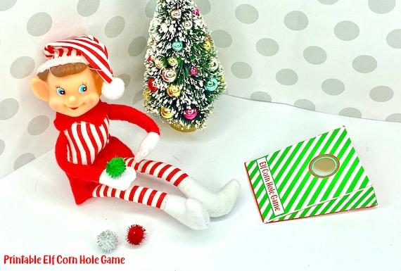 Elf CORN HOLE Game  Green Stripe  Set of 2  Christmas Props