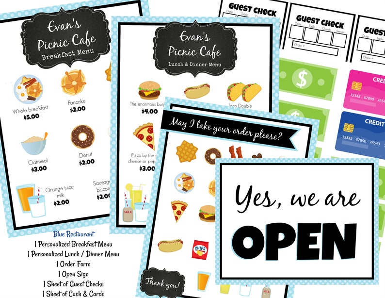 0ebf564e9ec INSTANT Download PERSONALIZED Dramatic Play Restaurant   Diner