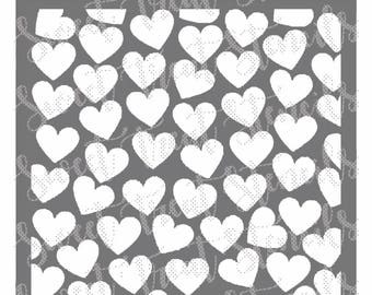 Scattered Hearts Cookie Stencil