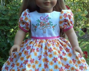 Embroidered  Floral dress  /   18 Inch Doll Clothes / Fits Melody ,Samantha or Others 18''Doll