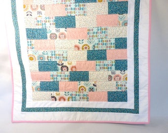 Baby quilt, baby blanket, pink and teal crib quilt, handmade baby girl gift, baby shower, birthday, new baby, christening gift made in UK