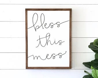 BLESS THIS MESS painted wood sign, S,M and L sizes available | Wall decor (Rustic Chic, Modern Farmhouse, fixer upper)