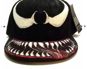 Custom Hand Painted SnapBack Cap - Spider-Man Venom on Cap 0b4a05b5081