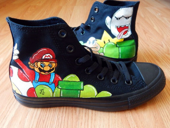 Turtles Converse,Hand Painted Shoes, High Top Converse Shoes