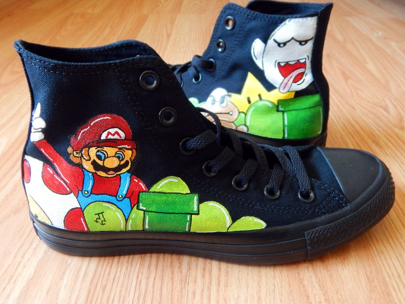 da3936bafa8be Custom Hand Painted Super Mario on High Top Converse
