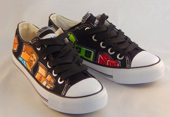 hete verkoop goedkoop kopen beste kwaliteit Custom Hand Painted Converse - Minecraft Steve & The Gang