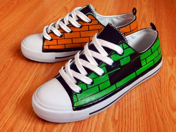 behoorlijk goedkoop beroemd merk het winkelen Custom Hand Painted Converse/All Star - Minecraft Steve & Creeper Face on  Shoes