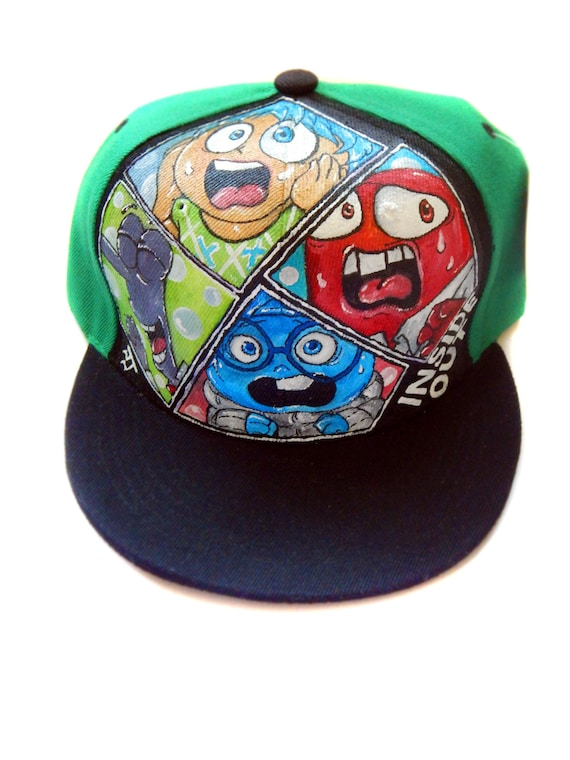 f336923ce0b60 Handpainted Snapback featuring Joy Sadness Anger   Fear from