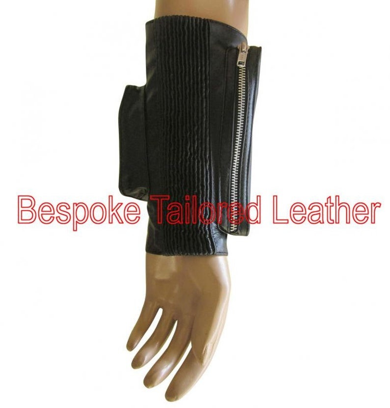 Leather Cuff With Secured Pouches for Mobile /& Cards