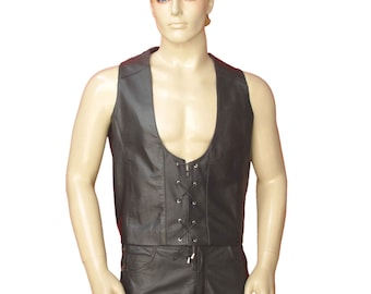 Real Leather Vest With Laces BVAN004