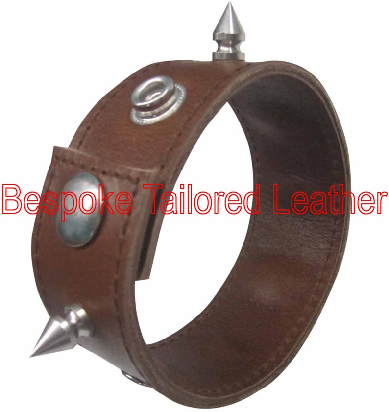 Brown Leather Wristband With Metal Stud WBN004