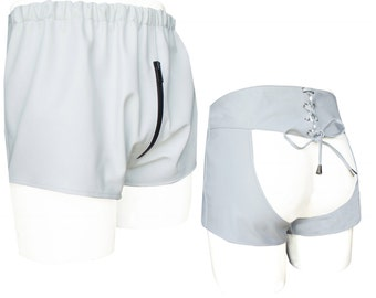 Sexy Leather Chaps Shorts - White -  Custom Made To Order SO2011