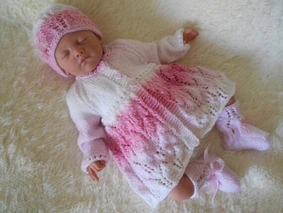 dK knitting pattern baby girls matinee cardigan hat booties pram set