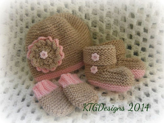 Baby dk knitting pattern to knit girls flower hat mitts and booties set easy
