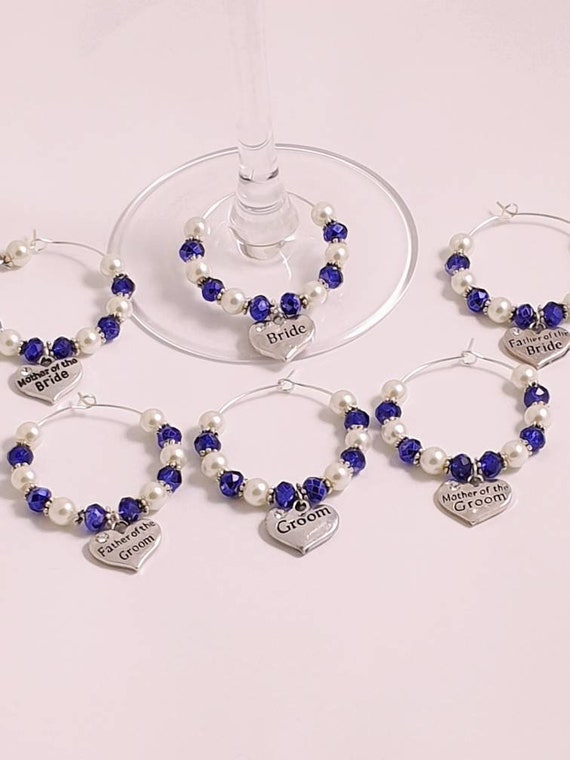 Beautiful Cobalt Blue wedding wine glass charms for top table or favours decor