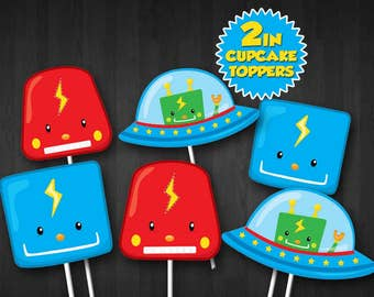 ROBOT PARTY Cupcake Toppers/ Party Supplies/ Instant Download/ Digital PDF/