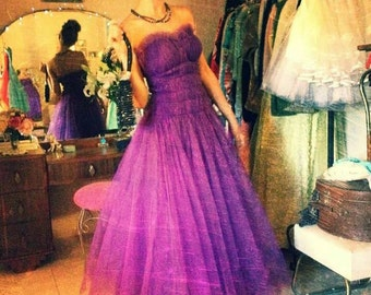ON SALE  Vintage 1950's Emma Domb Vivid Purple Tulle  Party / Prom Dress, Small