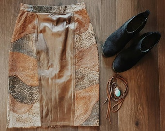 ON SALE  Brown leather 80's rock chick pencil skirt with marble Patchwork detail