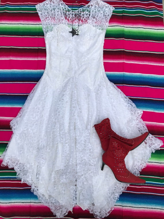 White lace 80s dress, handkerchief hem. Boho. Stea
