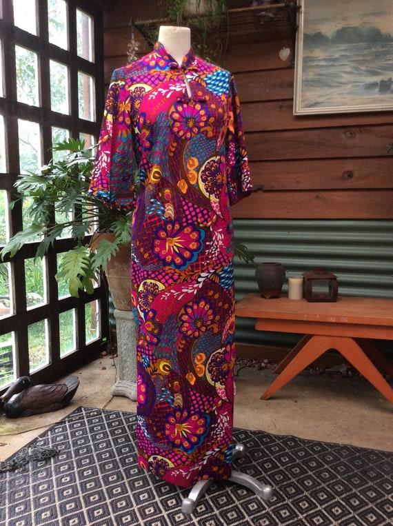 Vintage 60s genuine hawaiian maxi*barkcloth*psyche