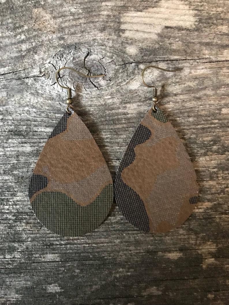 Leather Camo Teardrop Earring
