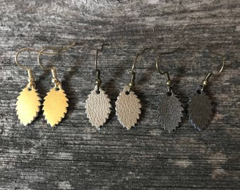 Tiny Leather Leaf Dangle