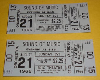 1966 The SOUND Of MUSIC 2 Unused Tickets Julie Andrews Christopher Plummer Eric Theatre  Harrisburg PA