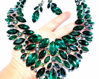 Green Rhinestone Austrian Crystal Choker Necklace Earring Pageant Drag Prom Exotic Belly Ballroom Dancer Rave Cocktail Party Gift Wedding