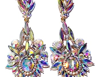 Multi Marquise Chandelier Earrings Rhinestone 3.5 inch Pageant Bridal Drag Prom Exotic Belly Dancer Ballroom Stripper Jewelry Gift for her