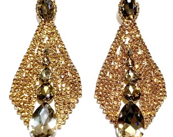 9be332d7b Huge Drag Queen Topaz Rhinestone Chandelier Earrings Bridal Prom Pageant  4.8 inch