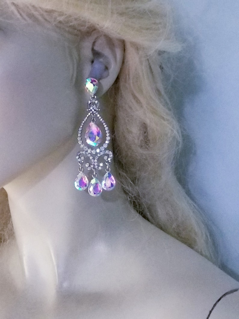 AB Chandelier Earrings Rhinestone Crystal 3.6 inch Pageant Bridal Drag Prom Exotic Belly Dancer Ballroom Jewelry Gift Drag Queen Prom