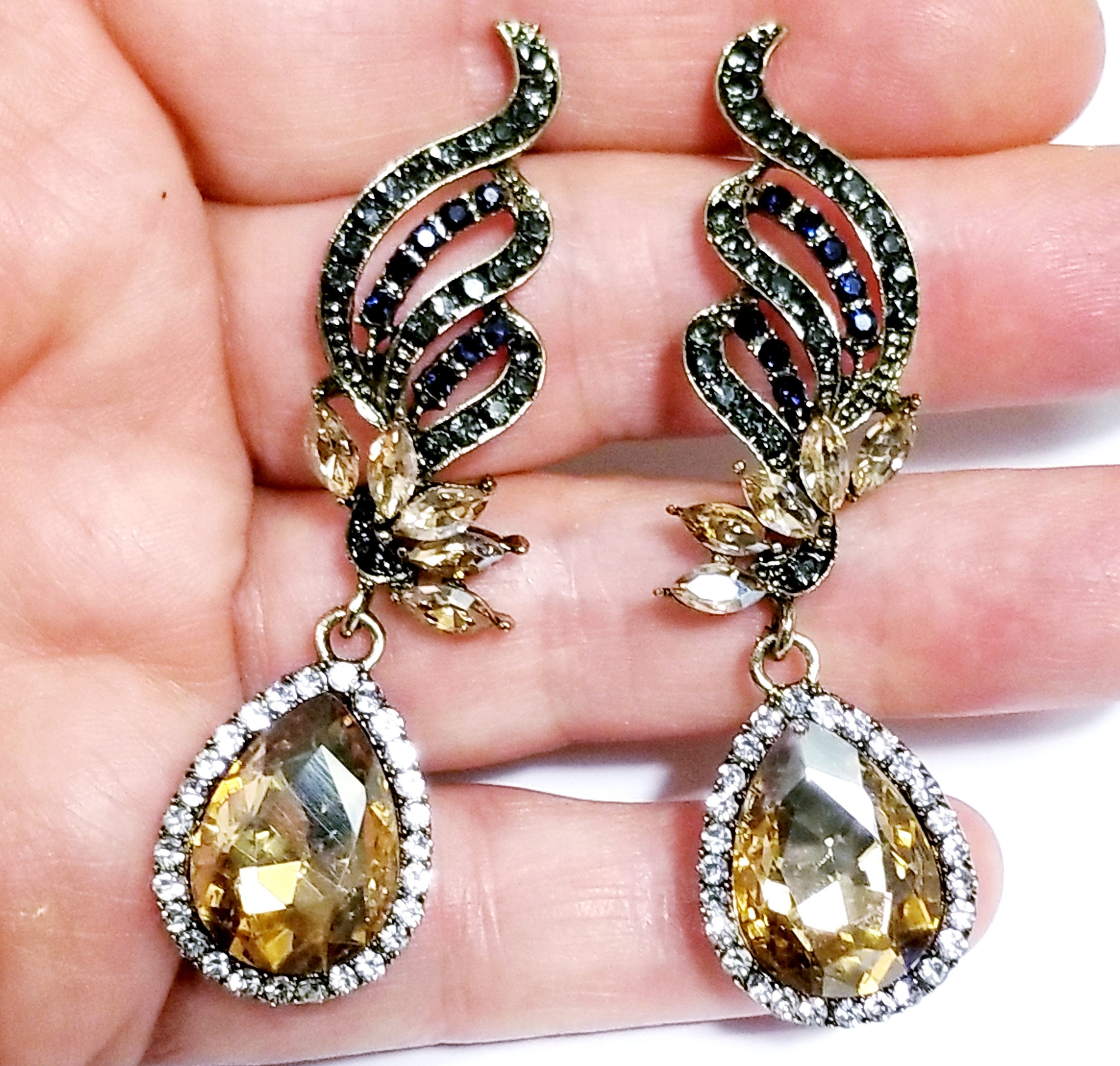 Topaz Statement Necklace Rhinestone Necklace Earrings Bridesmaid Pageant Jewelry