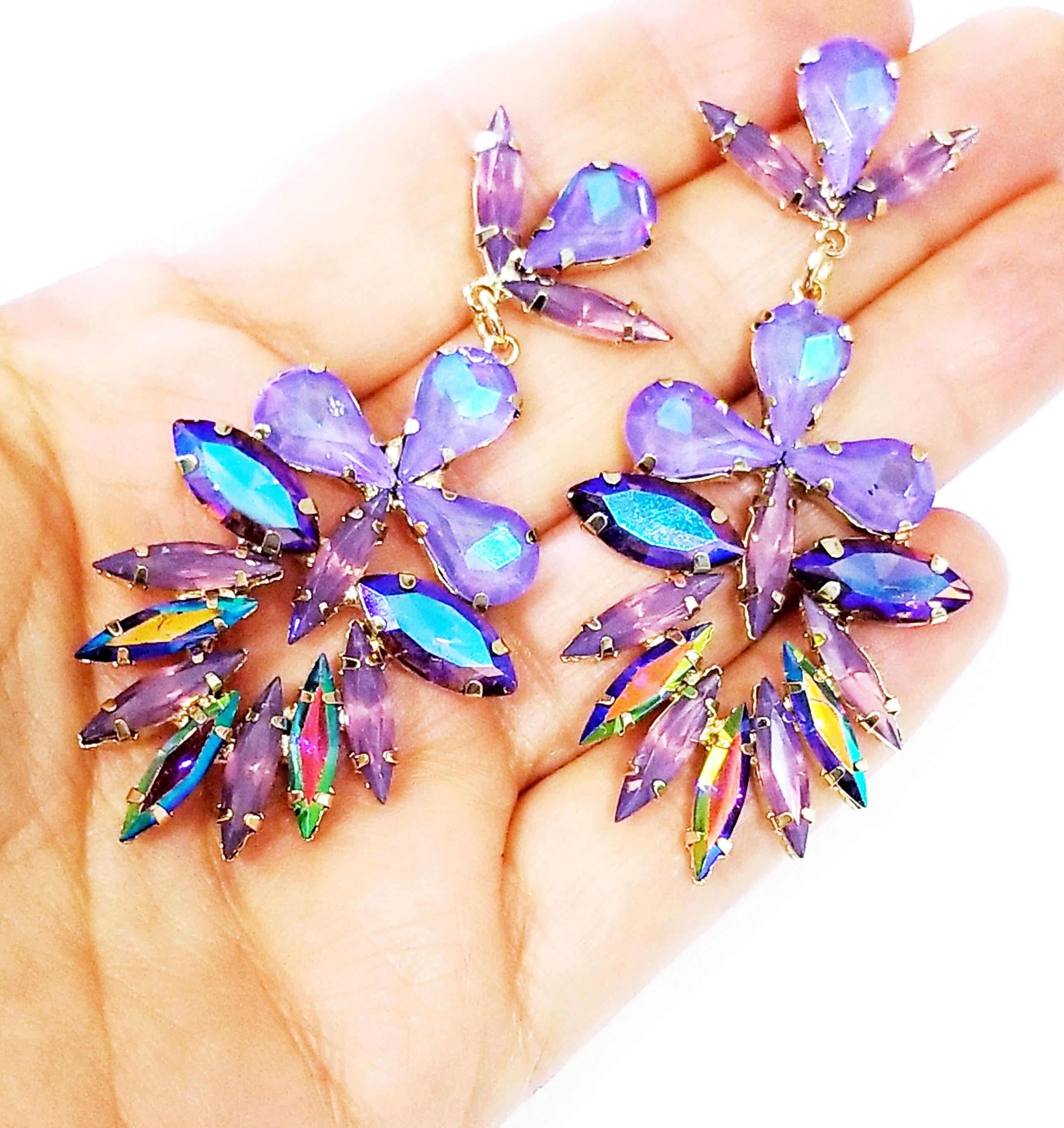 2.8 inch Pageant Bridal Drag Prom Blue Chandelier Earrings Rhinestone Crystal Drop Earrings
