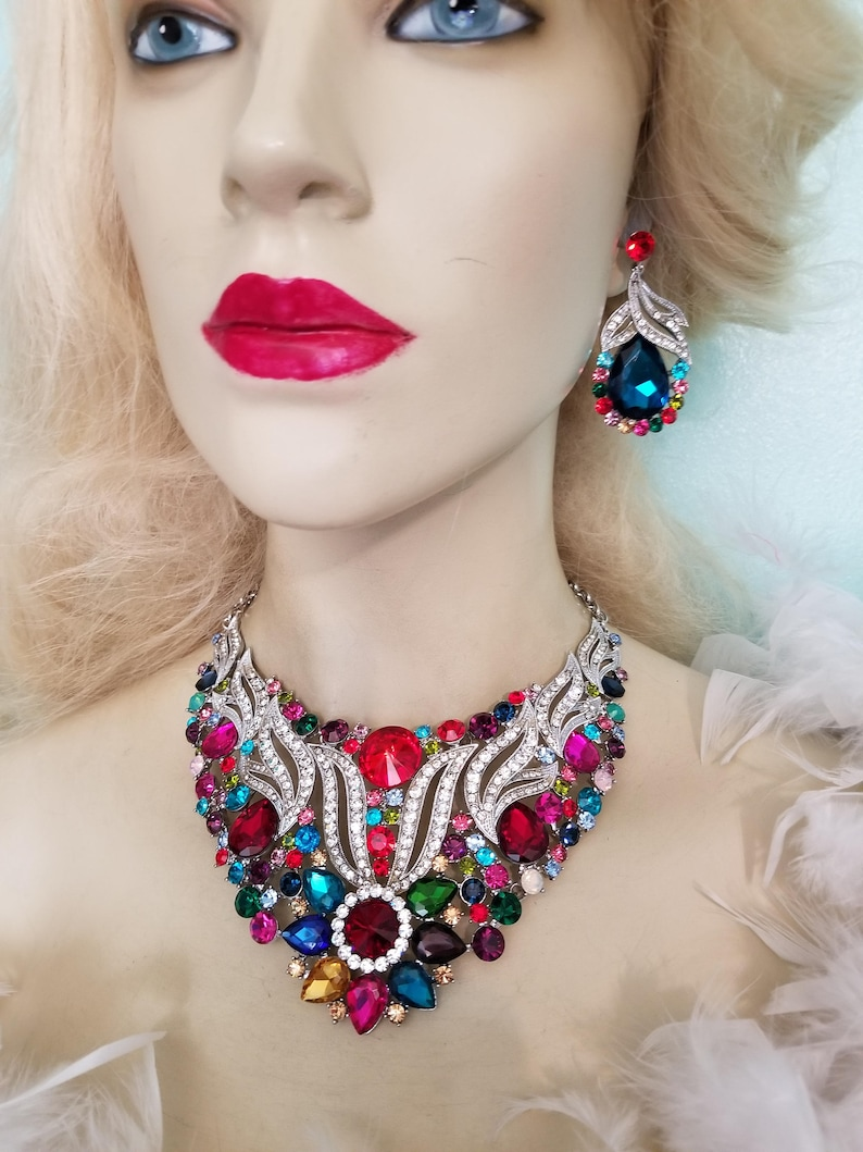 Multi Color Rhinestone Crystal Choker Necklace Earring Set Large Pageant Prom Bridal Drag Queen Jewelry Gift for Her Exotic Belly Dancer