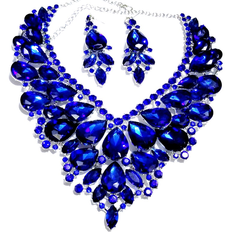 be46fb1a850b7 Drag Queen Rhinestone Necklace Earring Set Blue Bridal Jewerly Large  Pageant Exotic Belly Ballroom Dancer Rave Cocktail Party Gift Wedding