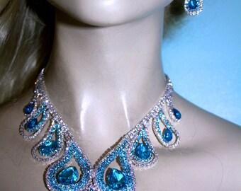Aqua Blue Rhinestone Crystal Choker Necklace Earring Pageant Drag