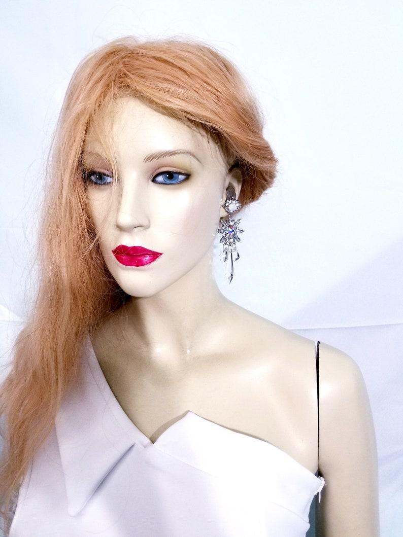 Bridal Prom Pageant Jewelry Crystal Dangle Earrings 3.8 inch AB Gift for Her Rhinestone Drop Earrings Star Chandelier Earrings