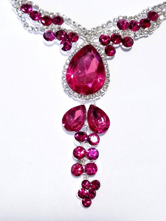 Necklace Earring Set Pink Rhinestone Necklace Austrian Crystal Choker