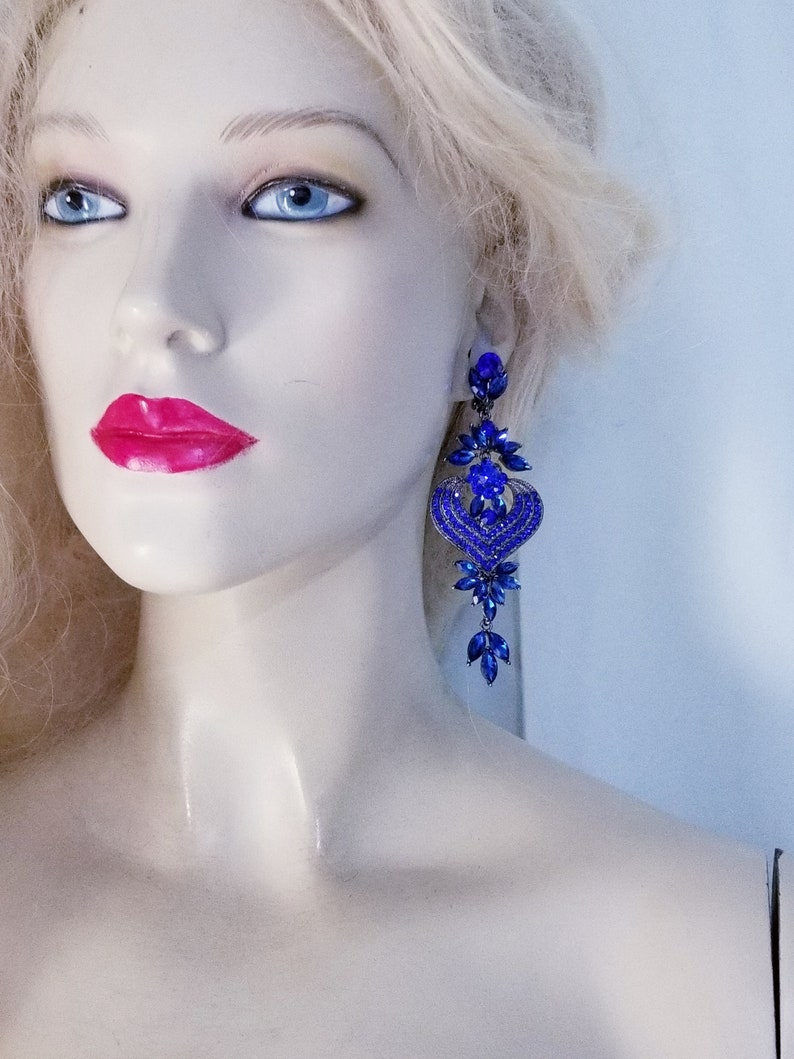 Blue Statement Rhinestone Chandelier Clip On Earrings Prom Pageant Drag Queen 4.1 in Long Wedding Belly Dancer Ballroom Jewelry Gift for her