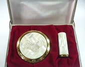 Unused Compact Lipstick Holder Set Mother Of Pearl