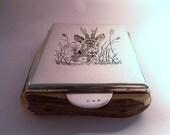 Antique table snuff Austrian NIELLO 900 SILVER HORN cigar cigarette box rare silver wedding anniversary gifts for him Vienna assayed