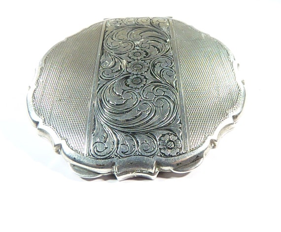 Antique Silver Handbag Mirror 1940s Hallmarked Sil
