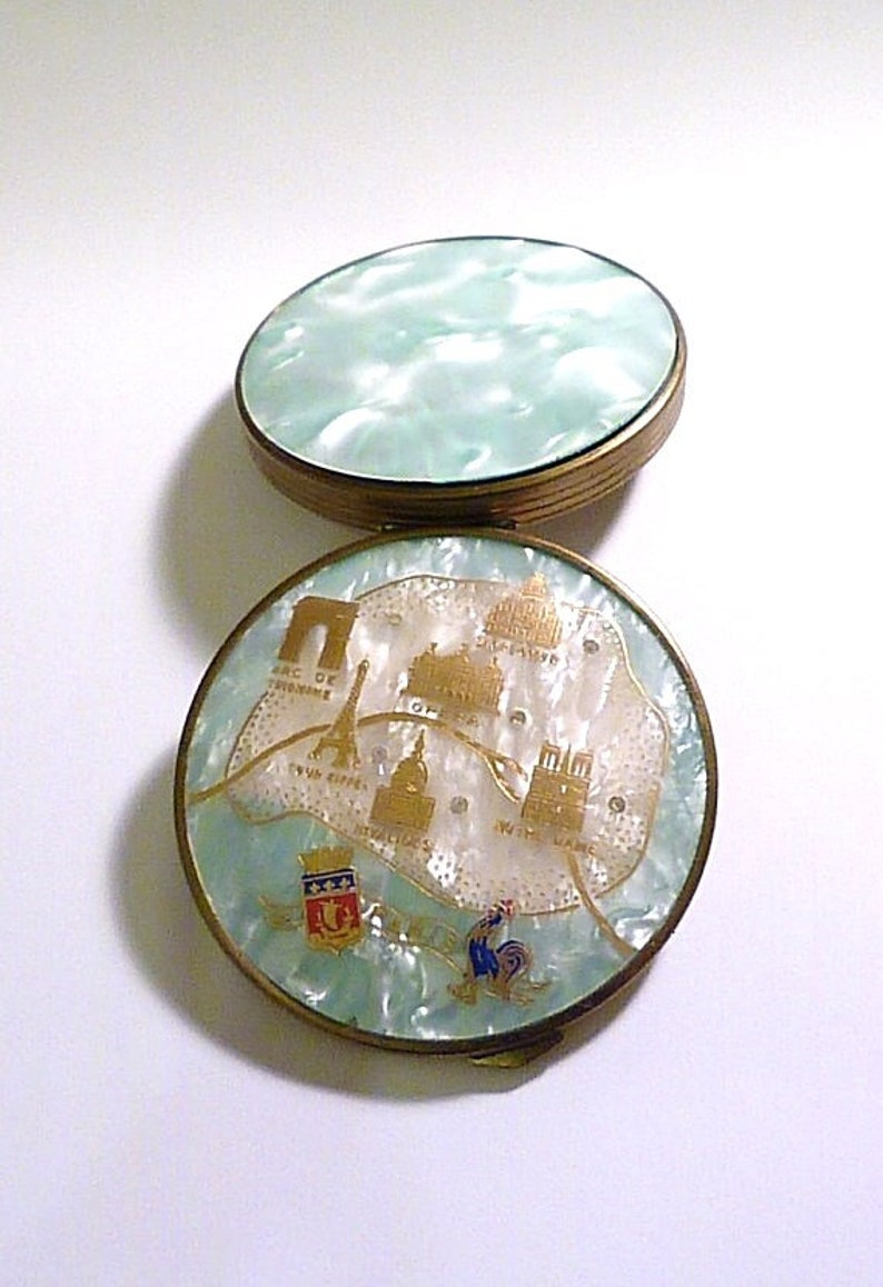 Rare compacts French celluloid SOUVENIR COMPACT of Paris antique mementos something blue gifts for her