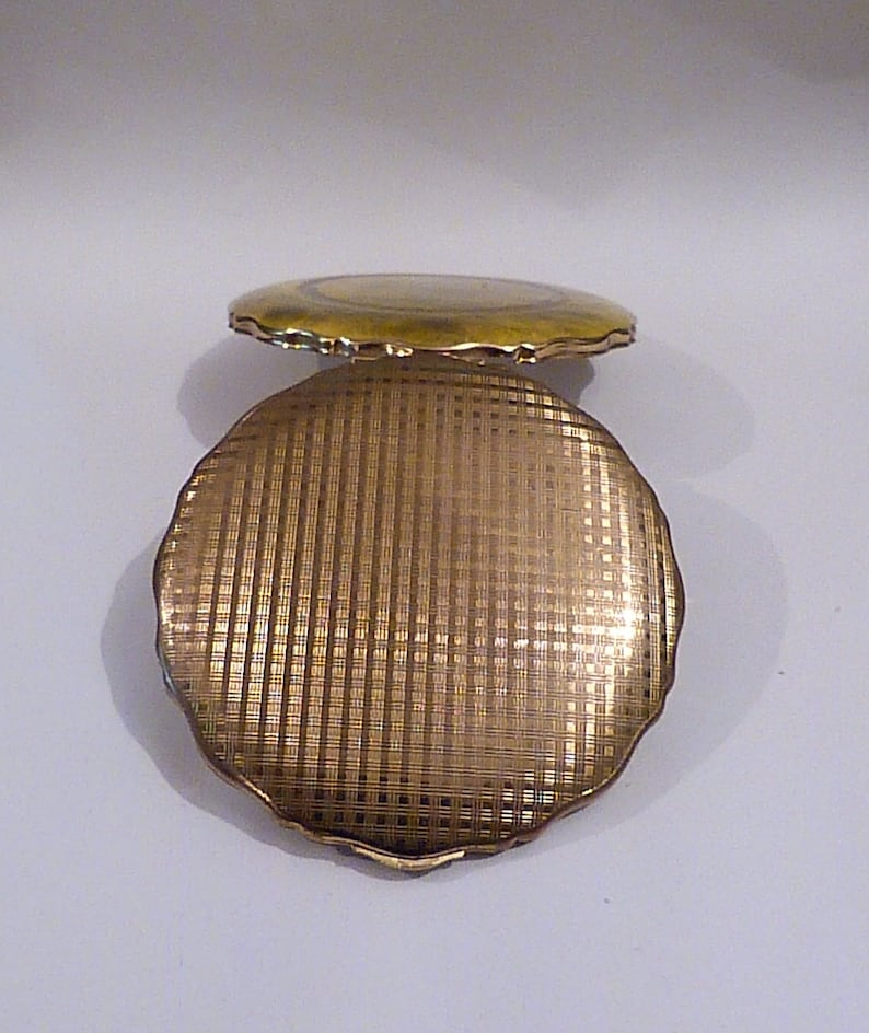 UNUSED Powder Compacts Vintage Compact Mirrors Yellow  Gold Enamel Faux Marble 1960s Bridesmaids  Birthday Gifts