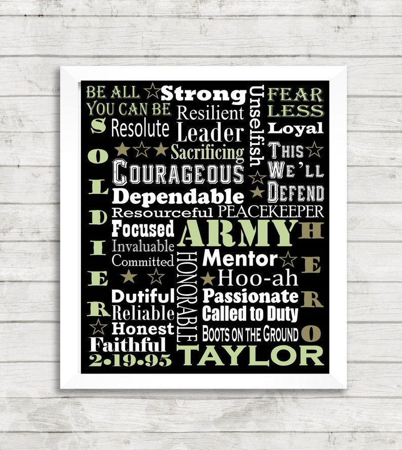 Army Military Custom Personalized Word Art Subway Boot Camp Print Art by  KayBee Studios on Etsy
