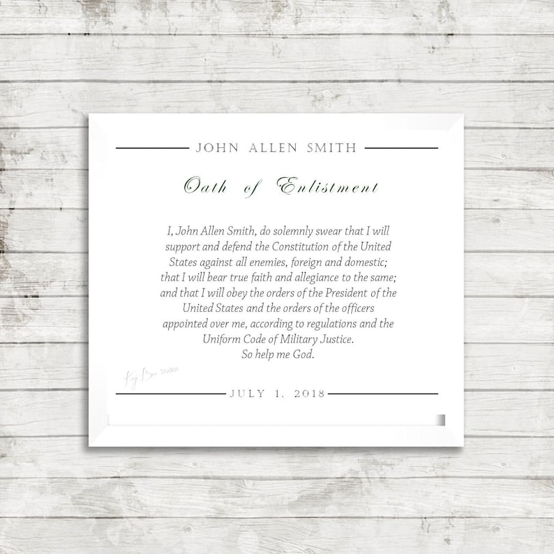 Oath of Enlistment Military Armed Forces Print Art by KayBee Studios on  Etsy