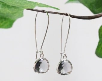 Drop Earrings Silver Dangle Earrings Stone Earrings Grey Spinel Glass Earrings Grey Gemstone Silver Earrings Birthstone Earrings