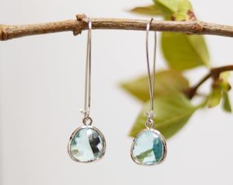 Aquamarine Glass Earrings - Silver Dangle Earrings - Stone Earrings - Drop Earrings - Birthstone Earrings - Aqua Jewelry - Quartz Earrings
