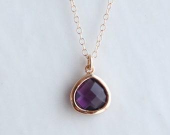 Amethyst Quartz Necklace - Amethyst Necklace - Gold Necklace - Stone Necklace - Birthstone Necklace - Pendant Necklace - Stone Necklace